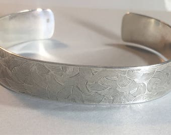 Sterling silver textured cuff bracelet- large woman or small-medium man