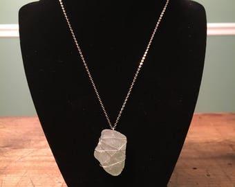 White Seaglass & Silver Wire Wrap Pendant Necklace