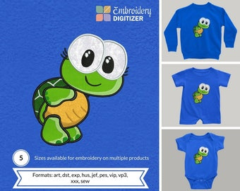 Loi Woops Cute Turtle Applique Embroidery Design