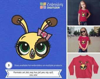 Little Pet Shop Rabbit Head Applique Embroidery Design
