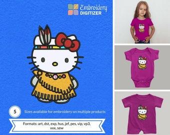 Hello Kitty Tribal Applique Embroidery Design