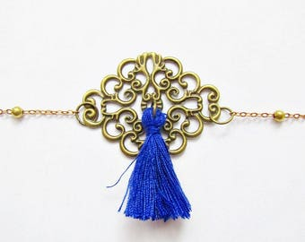 Blue romantic Bohemian chain bracelet