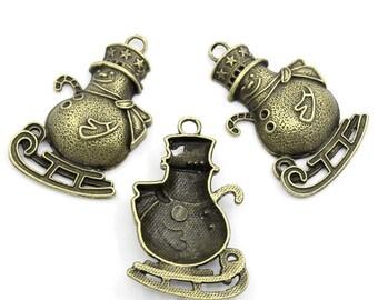 1 charm: pendant snowman snow zing bronze antique 4.9X3.1 cm