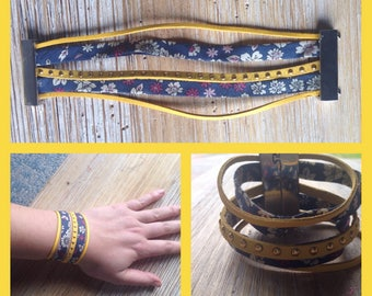 Magnetic Cuff Bracelet yellow and Navy