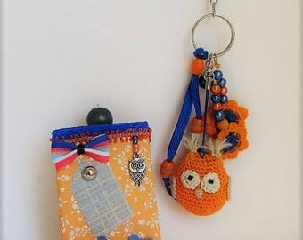 orange/blue crochet OWL bag charm in its gift box