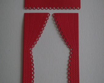 A red pair of curtains cut for scrapbooking and card