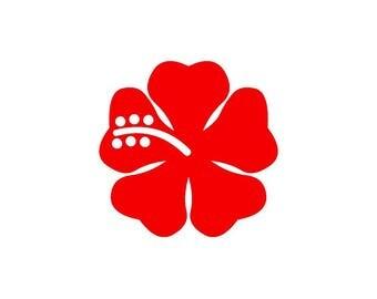 Hibiscus red vinyl sticker shiny height 9.8 cm (glass exterior, ref: p