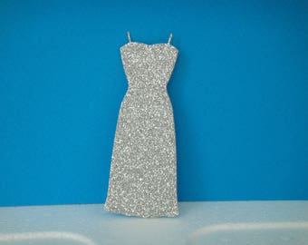 Cut long dress glitter silver for scrapbooking and card