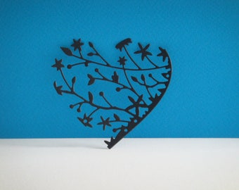 Cut black heart 7 cm for scrapbooking and card
