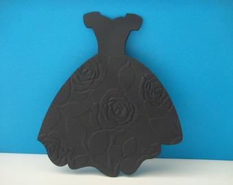 Black evening dress card embossed with roses + envelope