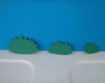 Cuts of 3 bushes green design for scrapbooking and card paper