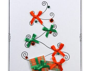 Christmas card / new year tree with red and green nodes