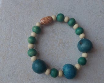 Bracelet chic turquoise and white fimo