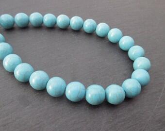 Blue dyed Howlite: 4 mm round beads 12 - precious stones blue