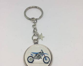 "Keychain Metal free shipping ""Moto"" glass Cabochon"
