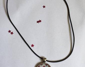 """Rubber pendant 25 mm """"Pop Fleurie"""" Choker necklace"""