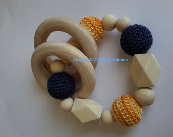 Wooden rattle natural teether baby