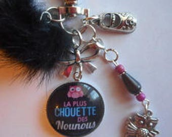 "Bag charm, door keys/nanny/BABYSITTER ""Coolest nannies"" / birthday/year end gift /fete/ thanks"