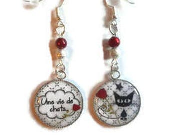 """Cabochon earrings / cat """"A life of cats"""" / gift / birthday / mothers/thanks/Christmas party"""