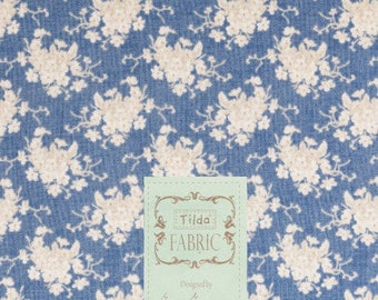 Fabric, coupon, 50/35 cm, TILDA, WHITE FLOWER TEAL, green, patchwork, 480560