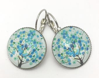 Earrings blue and white tree of life glass cabochon Stud Earrings