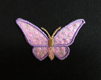 Applied fusible Butterfly purple and bright pink and gold embroidered thread