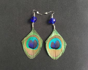 Chic and trendy earrings peacock feathers beads blue silver backings