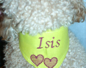 Lime green bandana to be personalized for your dog XXS, XS, M