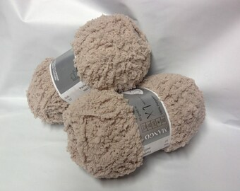 knit - wool - 5 balls of yarn nournours/soft / light taupe, linen / made in France