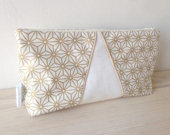 Gold geometric patterned makeup case