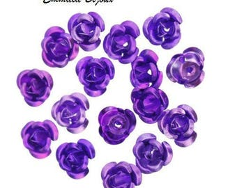 20 beads 6 mm aluminum purple flowers