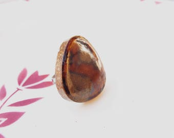 Copper ring brown rust ceramic Japanese paperweight