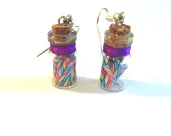 Earrings - polymer clay candy canes - vial glass Purple Ribbon - silver metal.