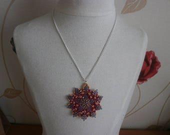 Necklace pendant Crystal fuchsia and purple.