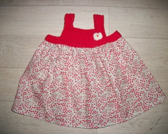 Child dress, girls, red flowers dress