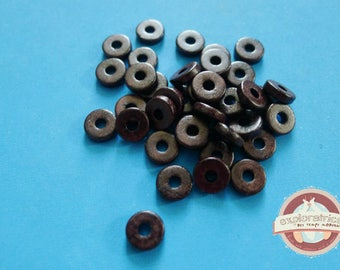 50 ethnic rondelle 2x8mm Brown ceramic beads