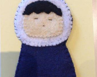 little inuit character felt finger puppet