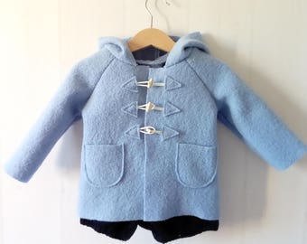 Coat / peacoat baby blue boiled wool