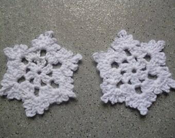2 white snowflakes made crochet