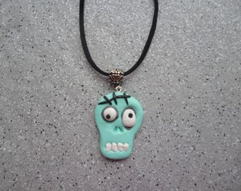 Cord necklace black velvet with skull pendant handmade with polymer clay.