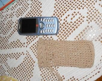 pochette téléphone au crochet couleur corde