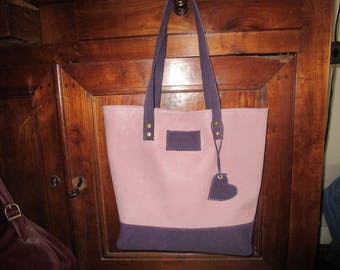 Purple Leather and ribbed purple tote bag