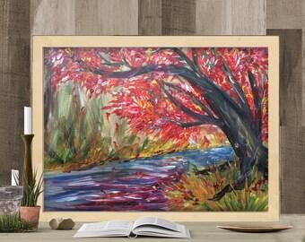 Autumn Glow Tree Impressionism Painting