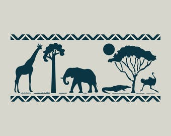 Safari stencil. Stenciled in Africa. Stencil animals from Africa. Elephant stencil. (ref 245)