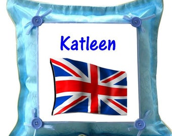 London Blue cushion personalised with name