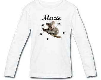 Girl Koala personalized with name long sleeve t-shirt