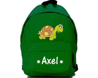 bag has green turtle personalized with name