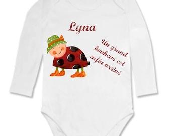 A happy Ladybug Bodysuit personalized with name