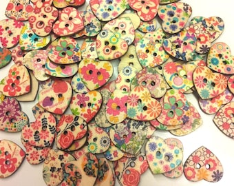 Set of 20 wooden buttons heart T27