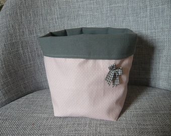 printed storage basket pink dots and gray mouse